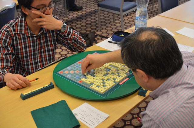 This is one of the funniest games I've played - in this picture, Elie Dangoor is playing REtORT, extending ORT with a blank. I kept the board very tight throughout.
