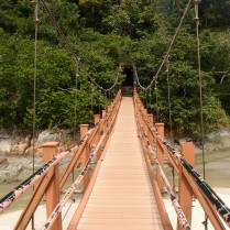 Suspension bridge above the meromictic lake